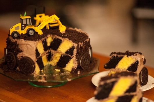 9 Construction Zone cake with diagonal layers.