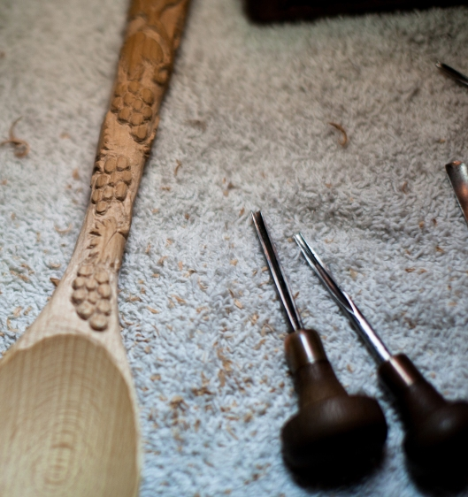 The wood spoon was buried in a box for months, unfinished.