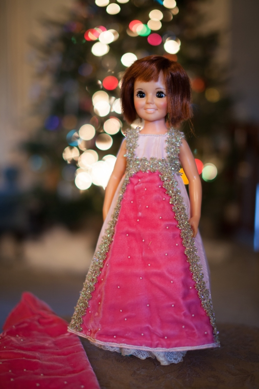 Vintage Crissy doll, wearing a handmade pink taffeta and velvet dress.