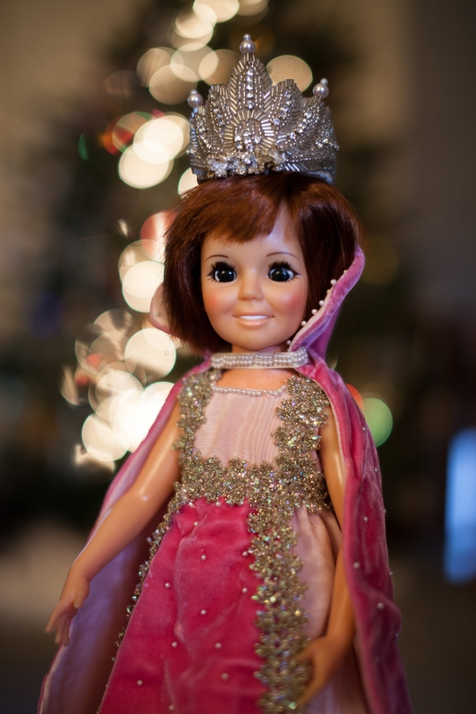 Vintage Crissy doll wearing a beaded crown from Gilded Life.