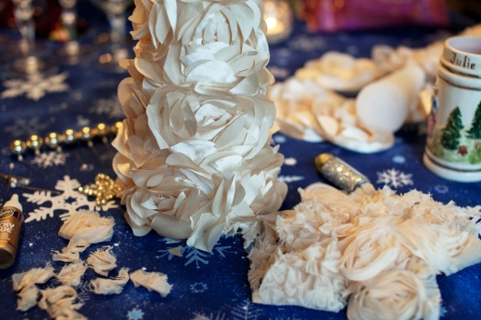 Starting to make the Glittered Roses Topiary, by A Gilded Life for the 12 Artsy Days of Christmas class.