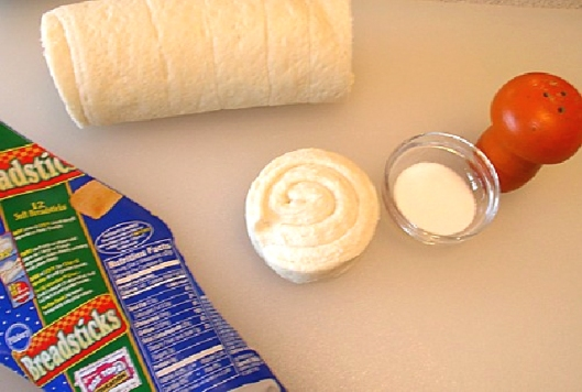 Tiny Breadstick Ingredients - refrigerated bread dough and salt.