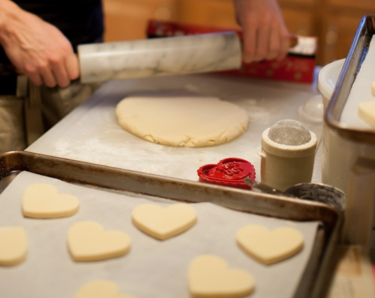 Rolling out the shortbread. The cutters were from Williams Sonoma.