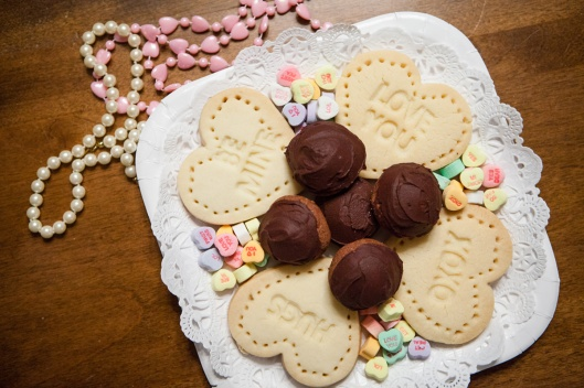 A little tray of Shortbread Heart Cookies and Cherry Cordial Cookies, ready for giving away.