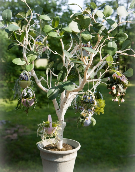 The tree was from Pottery Barn a couple years ago. The hanging egg baskets are cut from small plastic eggs and filled with tiny plants