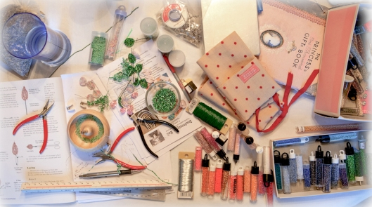My work table, covered with beading supplies for making French Beaded flowers.
