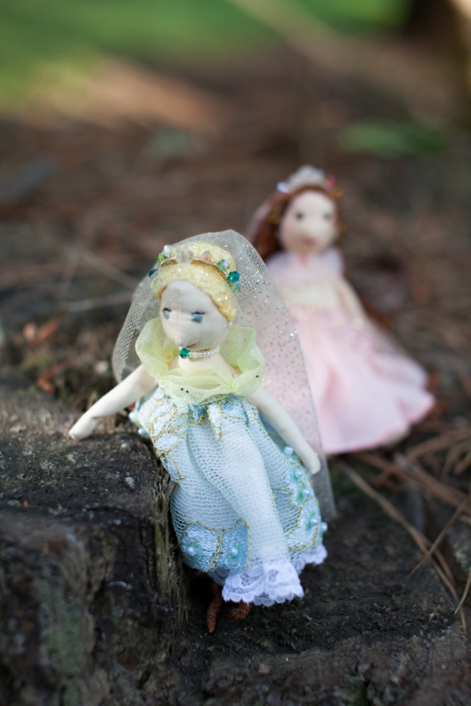 Two tiny princess dolls, ready to begin their adventures.