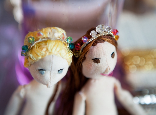 The dolls looked much better with new hair and tiaras.