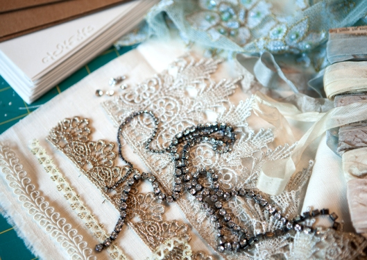 Glittery trims, lace and rhinestones to make a handmade journal.