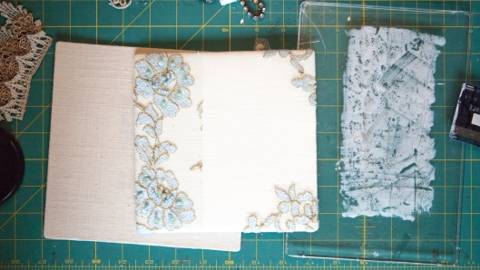 Gluing the sequined lace on the journal cover.