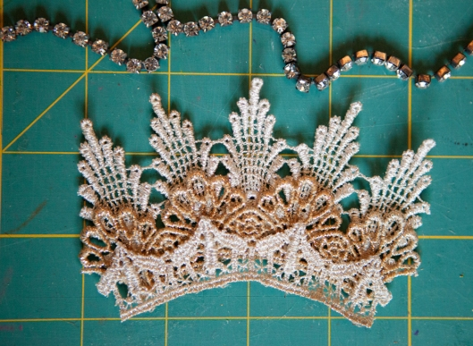The lace crown pieces all glued together.