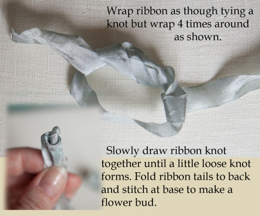 Making the ribbon rose buds.
