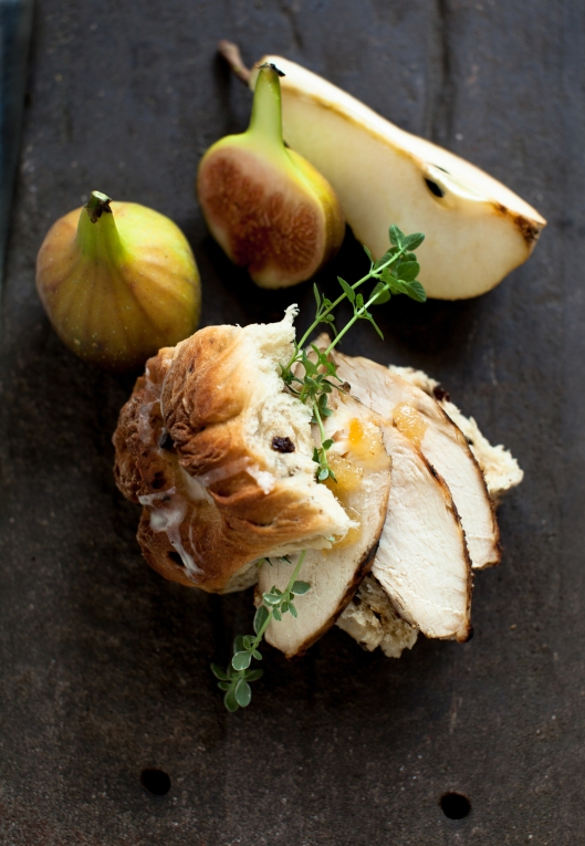Grilled Chicken, fresh thyme and a bit of Ginger Spread on a homemade Hot Cross Bun. Dessert was a pear and two figs.