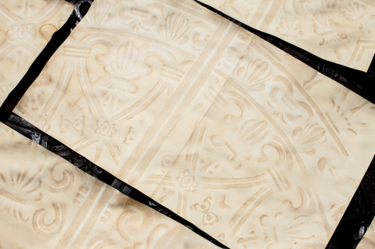 The wrought iron design on the bottom side of each sheet has a beautiful creamy color and delightful shading.