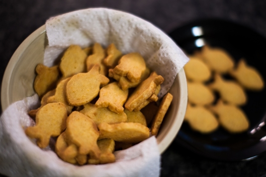 Goldfish in a bowl.