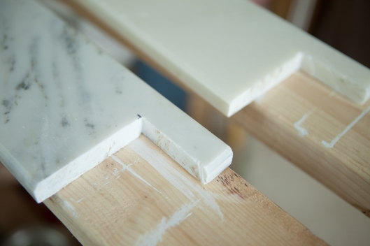 Our beautiful, hand-cut, marble window sills.