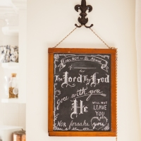 I hung my old chalkboard in the dining room