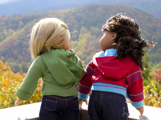The dolls enjoy Smoky Mountain autumn splendor.