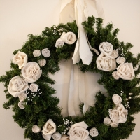 Repurposed Men's Tie Wool Interlining Rose Wreath