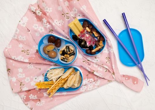 Japanese treats in a bento box.