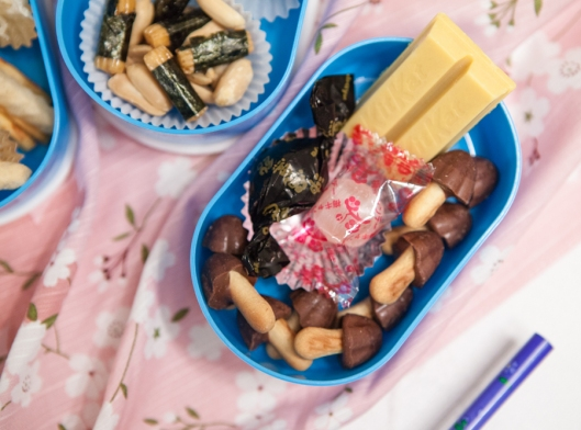 Japanese sweets - Mango Twix, mushroom-shaped cookies with chocolate tops, molasses brown sugar hard candy and plum mint hard candy