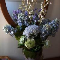 On my worktable - artificial flowers