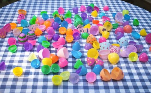 drying plastic eggs-