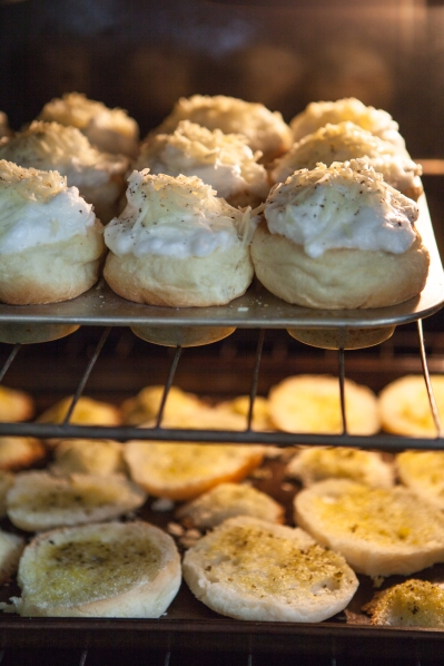 Bake brushed roll pieces for 10 minutes at 375. Bake Meringue Buns for 15 minutes for a liquid center yolk, 16 minutes for a soft-boiled yolk and 17 minutes for a hard-boiled yolk.