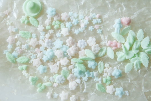 Sugar Bonnet decorations made of sugar, water and a little food coloring.