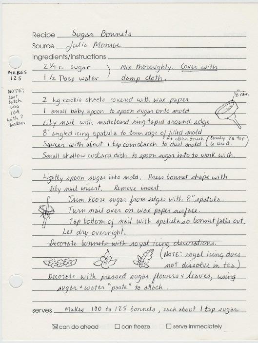 This is my recipe for Sugar Bonnets, written over 15 years ago.