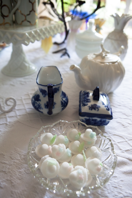 The back of the Dessert Table had items for tea, including a dish of Sugar Bonnets.