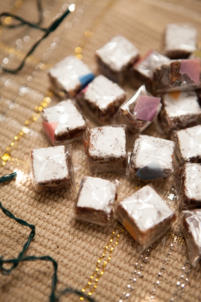 Wrapping each little square of Sienese Nougat Candy in cellophane. Washi tape worked great.