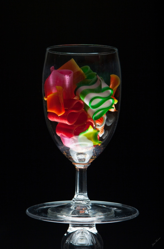 Ribbon Candy in a Wine Glass