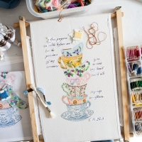 On my Worktable... continuing teacup cross stitch and embroidery