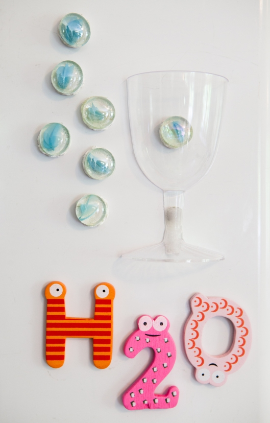 Wine Glass Refrigerator Water Counter - to remind me to drink more water!