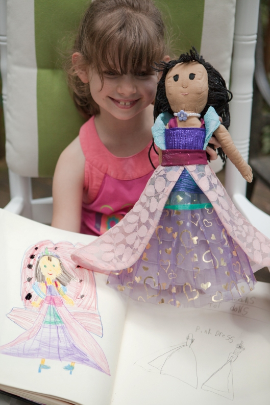 The Princess doll dress is finished!  She loves it! The design and colors are all her own, inspired by the sketch in her sketchbook.