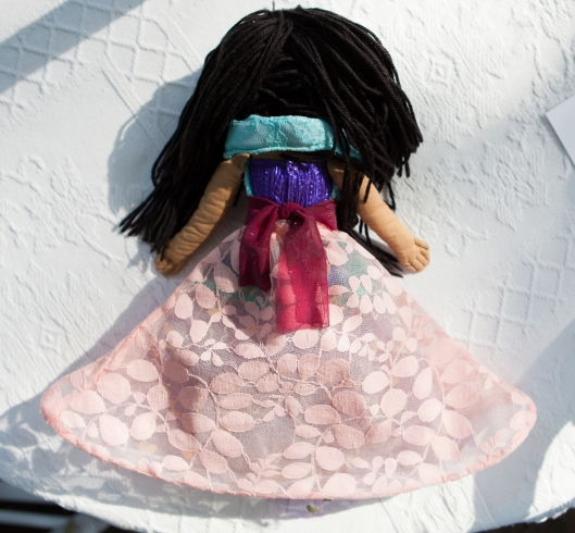 Princess doll dress back.