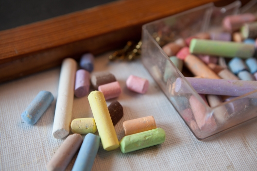 Colored bits of chalk