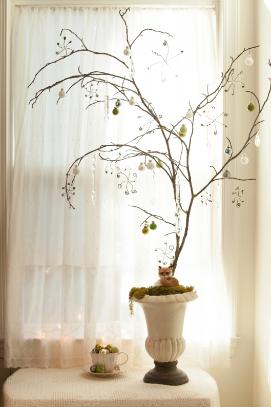 Snow and Crystal Tree, with vintage chandelier crystals and snowflakes made from dried vine tendrils.