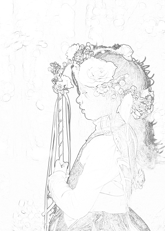 Girl with Flowers in her Hair - a free coloring page for you!