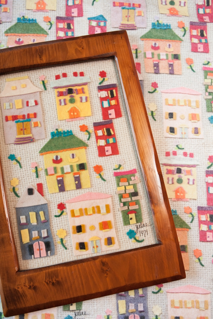 Julie 1971, a fabric featuring houses made of felt, is available on Spoonflower.