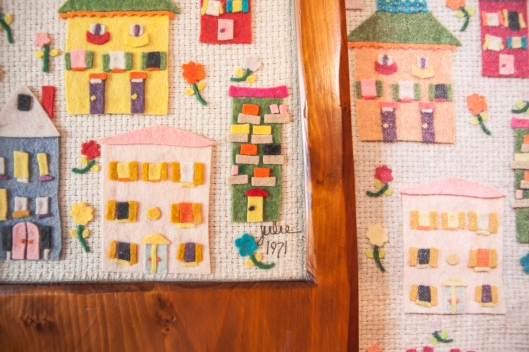 5 Felt Houses and fabric