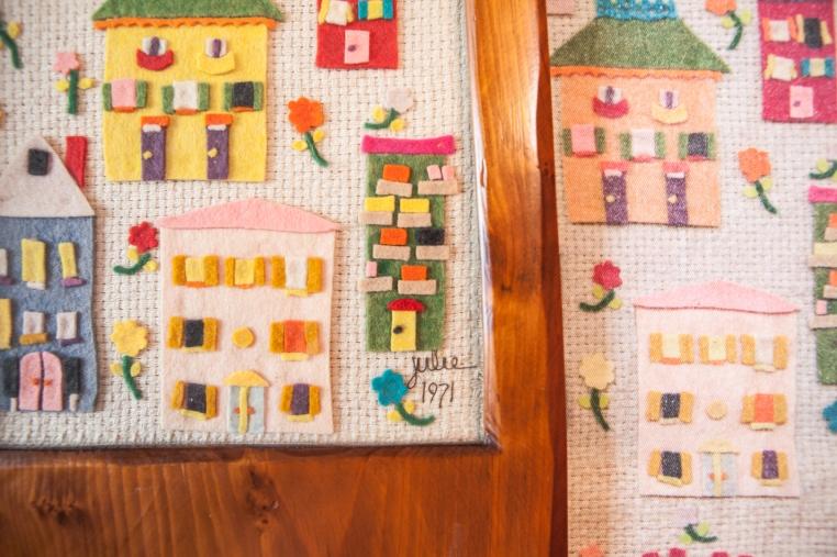 5 Felt Houses and fabric