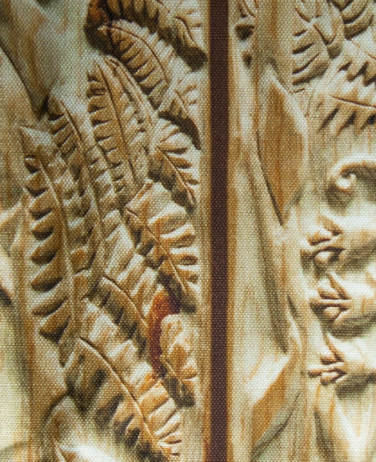 Another close up of the carved fern section.