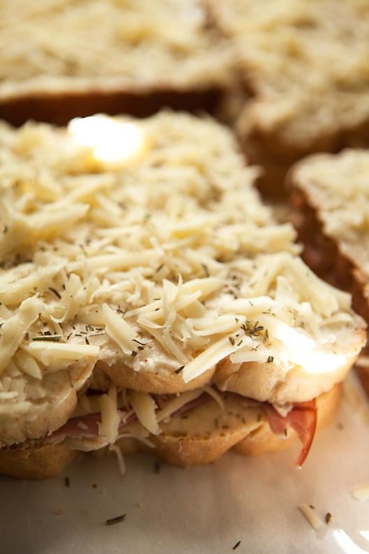 Herbes de Provence sprinkled over tops of the sandwiches.