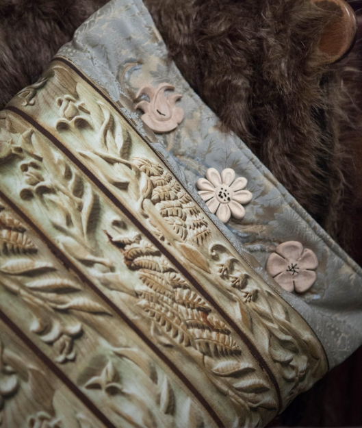 2 carved wood flower stripe fabric pillow.jpg