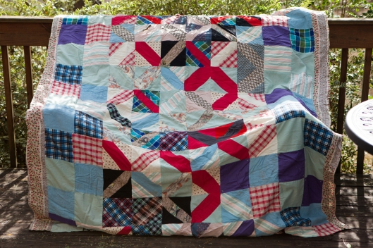 The old red, white and blue quilt.