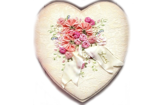 Silk Ribbon Embroidered heart box.