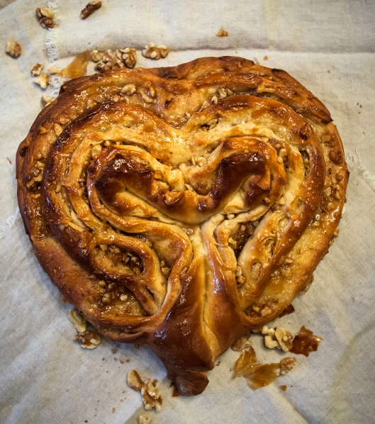 Peach Walnut Flip. I usually bake this in a U-shape but twisted the ends to form a heart this time.