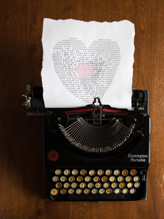 The old Remington Portable typewriter was really fun to use for the typed heart. I had forgotten how noisy but charming a typewriter sounds!